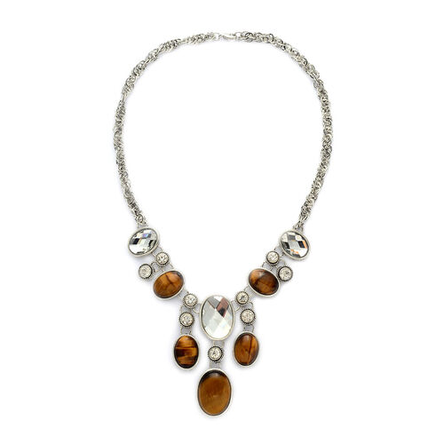 Tigers Eye and White Glass Stylish Necklace (Size 18) in Black Tone