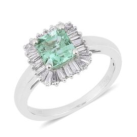 ILIANA 18K W Gold Boyaca Colombian Emerald (Oct 1.00 Ct), Diamond Ring 1.500 Ct.