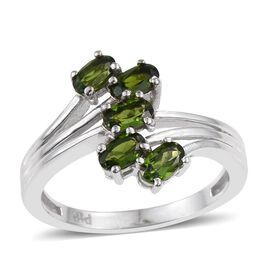 Russian Diopside (Ovl) 5 Stone Crossover Ring in ION Plated Platinum Bond 1.250 Ct.