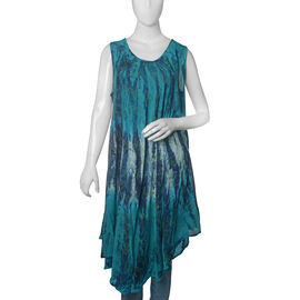 Dark Blue,Turquoise and Green Colour Peacock Feather Printed Tunic (Free Size)