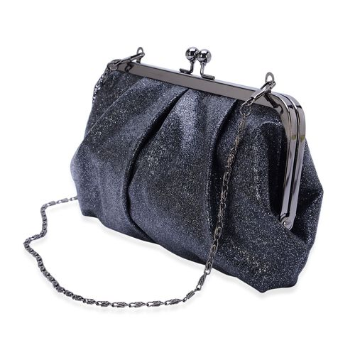 Black Colour Glitter Clutch Bag with Removable Chain Strap (Size 24x13 Cm)
