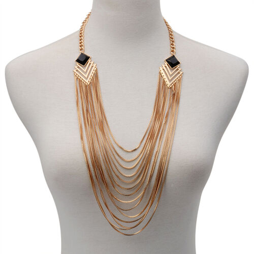 Multi Strand Necklace (Size 25 with Extender) in Gold Tone with Simulated Stone