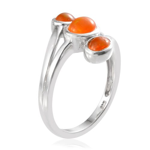 Orange Ethiopian Opal (Ovl 0.50 Ct) 3 Stone Ring in Platinum Overlay Sterling Silver 1.160 Ct.