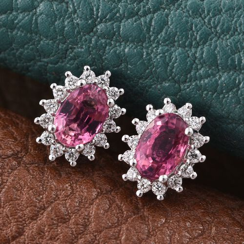 ILIANA 18K White Gold 1 Carat AAAA Pink Tourmaline And Diamond Halo Stud Earrings (with Screw Back)