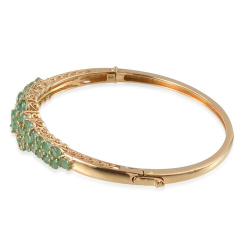 Kagem Zambian Emerald (Ovl 0.75 Ct) Bangle (Size 7.5) in 14K Gold Overlay Sterling Silver 7.150 Ct.
