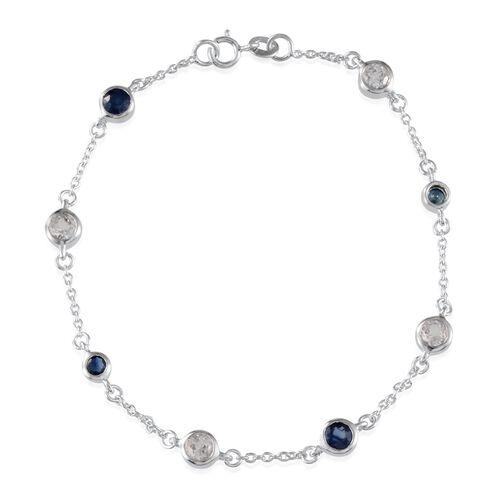Kanchanaburi Blue Sapphire (Rnd), White Topaz Station Bracelet (Size 7.5) in Platinum Overlay Sterling Silver 1.400 Ct.
