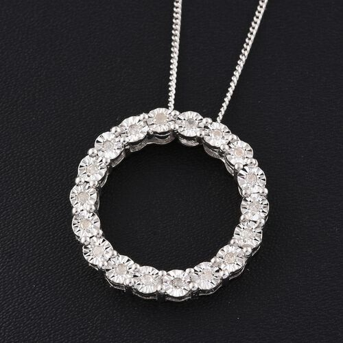 GP Diamond Dream (Rnd), Kanchanaburi Blue Sapphire Circle of Life Pendant With Chain in Platinum Overlay Sterling Silver 0.170 Ct.
