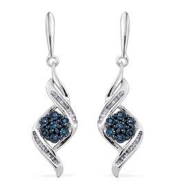 Blue Diamond, White Diamond 0.25 Carat Lever Back Earrings in Platinum Overlay Sterling Silvert.