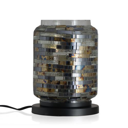 Home Decor - Handicraft Mosaic Glass Lamp in Two Tone Black