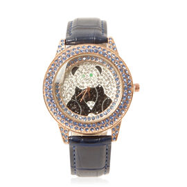 GENOA Japanese Movement White, Black and Blue Austrian Crystal Water Resistant Watch in ION Plated Rose Gold with Croc Embossed Blue Strap
