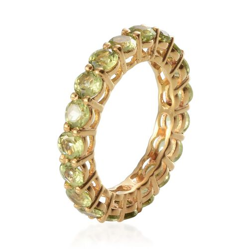 Hebei Peridot (Rnd) Full Eternity Ring in Yellow Gold Overlay Sterling Silver 4.750 Ct.
