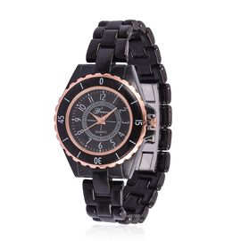 GENOA Japanese Movement Black Dial Water Resistant Watch in Rose Gold Tone with Stainless Steel Back and Black Ceramic Strap with Gift Box