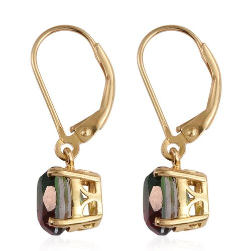 Bi-Color Tourmaline Quartz (Ovl) Lever Back Earrings in 14K Gold Overlay Sterling Silver 3.000 Ct.