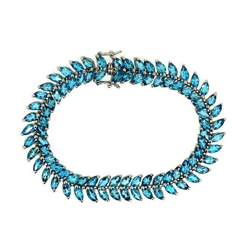 Swiss Blue Topaz (Mrq) Bracelet in Rhodium Plated Sterling Silver (Size 7) 27.000 Ct.