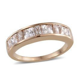 9K Y Gold (Sqr) Half Eternity Band Ring Made with SWAROVSKI ZIRCONIA 2.110 Ct.