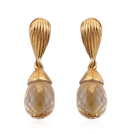 Citrine Drop Earrings (with Push Back) in 14K Gold Overlay Sterling Silver 5.000 Ct.