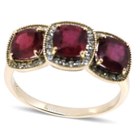9K Y Gold African Ruby (Cush), Natural Cambodian Zircon Ring 4.740 Ct.
