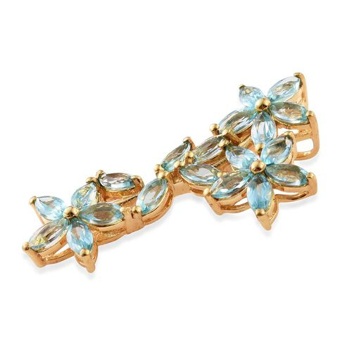 Paraiba Apatite (Mrq) Floral Pendant in 14K Gold Overlay Sterling Silver 3.250 Ct.