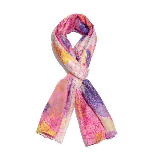 100% Mulberry Silk Lilac Floral Printed Pink and Multi Colour Scarf (Size 180x100 Cm)