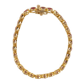 African Ruby (Rnd) Bracelet (Size 7) in 14K Gold Overlay Sterling Silver 10.000 Ct.