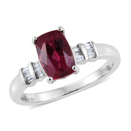 RHAPSODY 950 Platinum AAAA Ouro Fino Rubelite (Cush 1.55 Ct), Diamond (VS/E-F) Ring 1.750 Ct.
