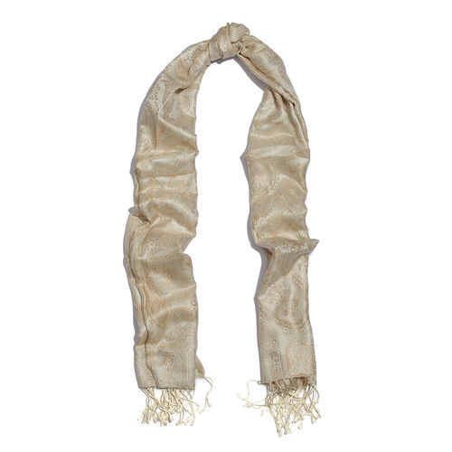 SILK MARK - 100% Superfine Silk Cream and Brown Colour Jacquard Scarf with Fringes (Size 180x70 Cm) (Weight 125 - 140 Grams)
