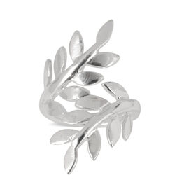 Thai Sterling Silver Leaves Crossover Ring, Silver wt 4.15 Gms.