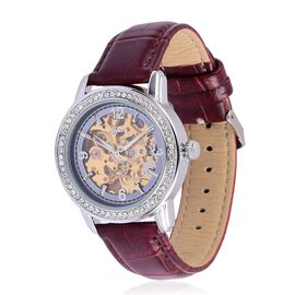 GENOA Automatic Skeleton Blue Dial with White Austrian Crystal Water Resistant Watch in Silver Tone with Stainless Steel Back and Wine Red Colour Strap
