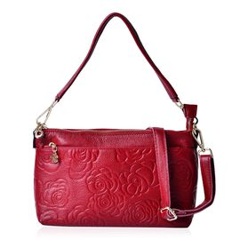 Red Colour Floral Pattern Genuine Leather Shoulder Bag with External Zipper Pocket with Adjustable and Removable Shoulder Strap (Size 27x17.5x9 Cm)