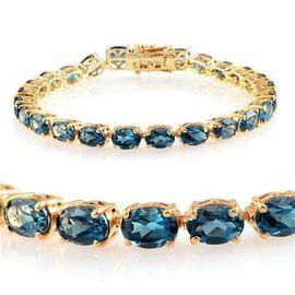 London Blue Topaz (Ovl) Bracelet in 14K Gold Overlay Sterling Silver (Size 7.75) 25.000 Ct.