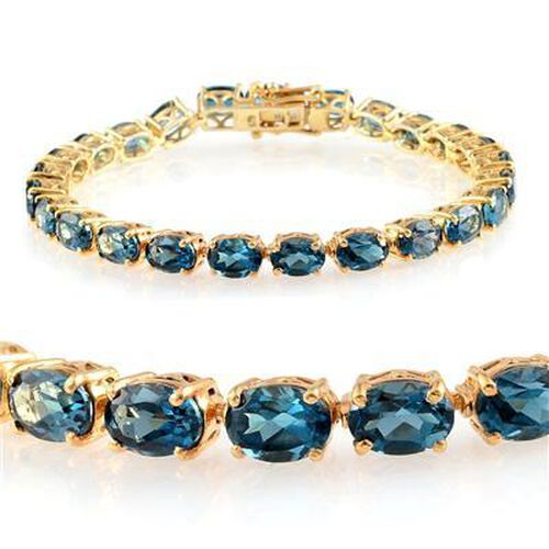 London Blue Topaz (Ovl) Bracelet in 14K Gold Overlay Sterling Silver (Size 7.75) 25.000 Ct.