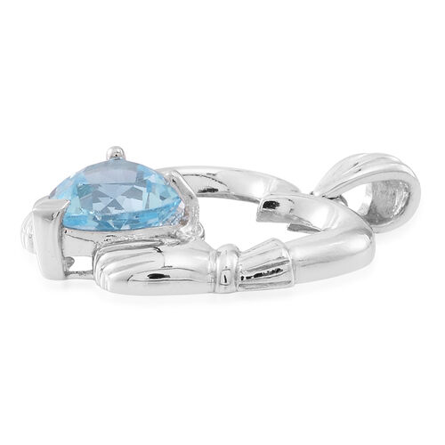 Sky Blue Topaz (Hrt) Claddagh Pendant in Rhodium Plated Sterling Silver 3.000 Ct.