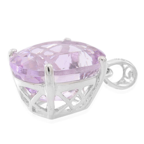 Rose De France Amethyst (Ovl) Pendant in Rhodium Plated Sterling Silver 17.250 Ct.
