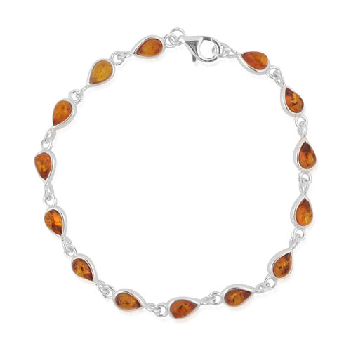Baltic Amber (Pear) Bracelet (Size 7.5) in Sterling Silver