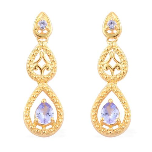 Tanzanite (Pear) Earrings (with Push Back) in Yellow Gold Overlay Sterling Silver