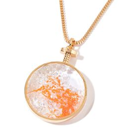 Simulated Diamond with Orange Colour Dried Flower Filled Locket Pendant With Chain in Gold Tone
