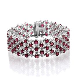 African Ruby (Rnd), White Topaz Bracelet in Platinum Overlay Sterling Silver (Size 7) 32.500 Ct.