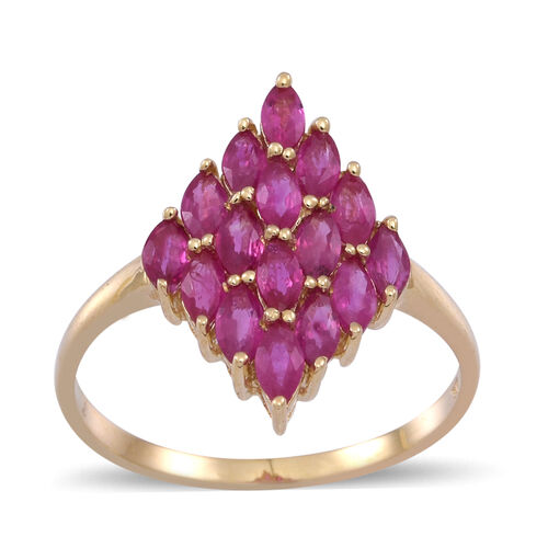 9K Y Gold Burmese Ruby (Mrq) Cluster Ring 3.000 Ct.