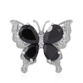 Boi Ploi Black Spinel (Pear), White Zircon Butterfly Pendant in Rhodium Plated Sterling Silver 4.750 Ct.