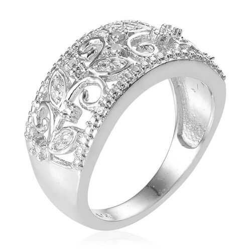 Diamond (Rnd) Leaves Band Ring in ION Plated Platinum Bond