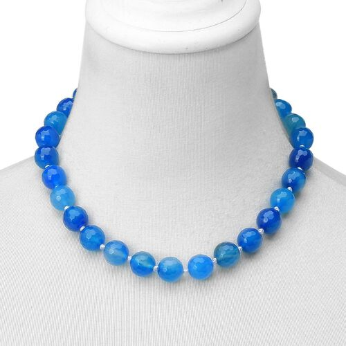 Blue Agate Beads Necklace (Size 18) with Magnetic Clasp Lock and Stretchable Bracelet (Size 7) in Silver Tone 736.000 Ct.