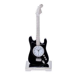 3D - STRADA Japanese Movement Black Guitar Style Table Clock
