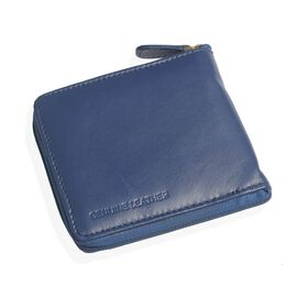 Genuine Leather Blue Colour RFID Zip Up Wallet (Size 11x9 Cm)