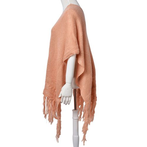 Mohair Like (Diamond Fiber) Salmon Colour Poncho with Tassels (Free Size)