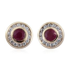 9K Yellow Gold 1 Carat AAA Burmese Ruby Halo Stud Earrings with Cambodian Zircon