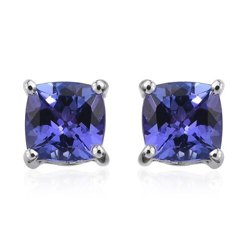 9K White Gold 1.60 Carat Tanzanite Cushion Solitaire Stud Earrings with Push Back.