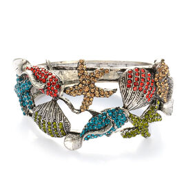 Multi Colour Austrian Crystal Bangle in Silver Tone (Size 7.5)