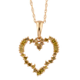 Canary Diamond (Rnd) Heart Pendant with Chain in 14K Gold Overlay Sterling Silver 0.500 Ct.