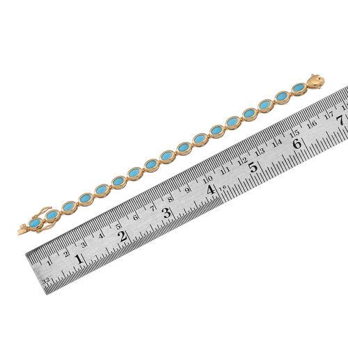 Arizona Sleeping Beauty Turquoise (Ovl) Bracelet (Size 8) in 14K Gold Overlay Sterling Silver 11.000 Ct.