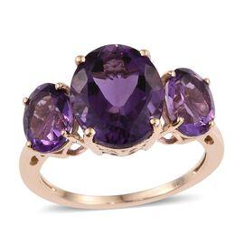 9K Y Gold Zambian Amethyst (Ovl 4.40 Ct) 3 Stone Ring 6.750 Ct.